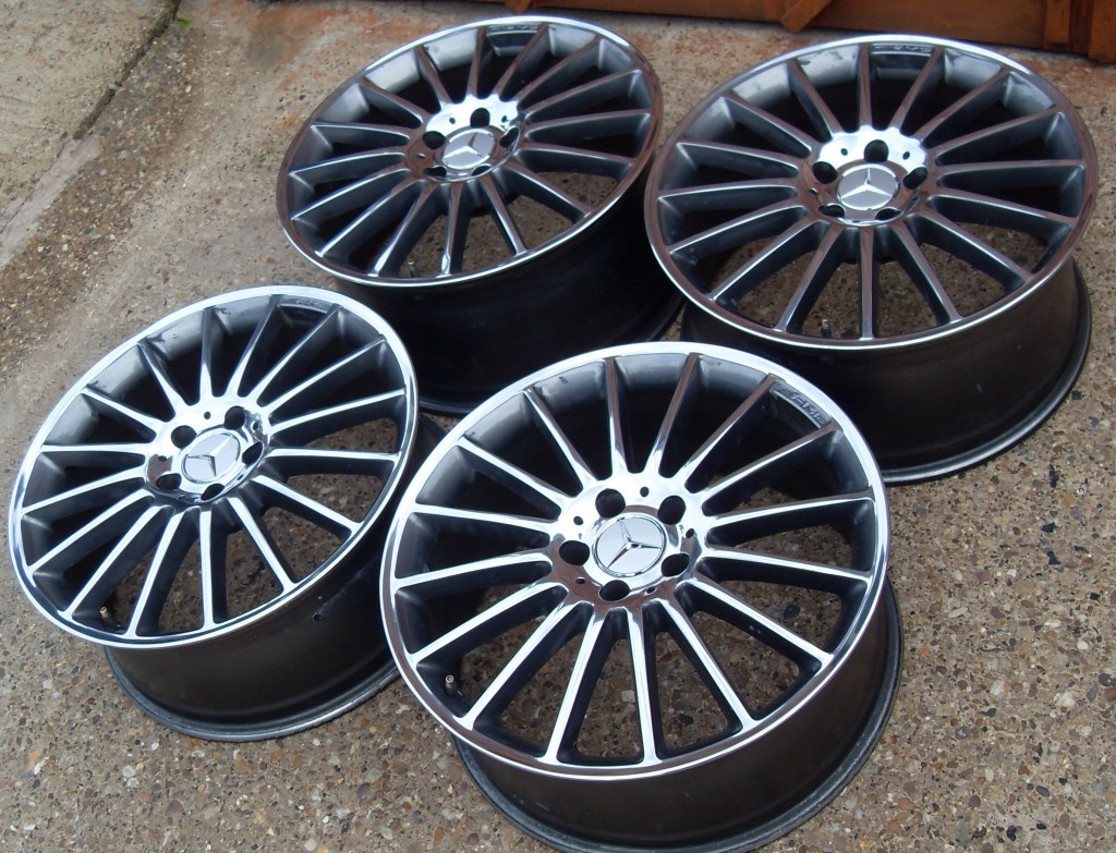 The finished wheels, kerb damaged removed, and polished faces.